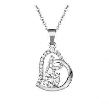 Cos2be Love Heart Pendant Necklace for Women - Silver - CX12F7U51RV