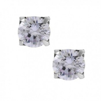 Lavender Round Cut Cubic Zirconia CZ Sterling Silver Magnetic Stud Earrings - C91170S2QTF