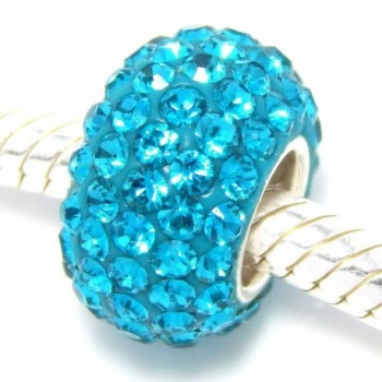 """925 Sterling Silver """"Teal Crystals"""" Charm Bead - CL1267WJ525"""