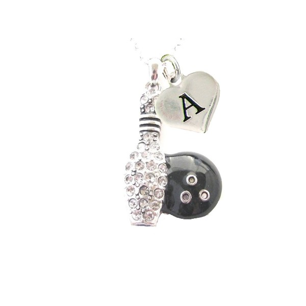 Custom Crystal Bowling Ball Pin Silver Chain Necklace Choose Initial Charm - CR12N1WP9TG