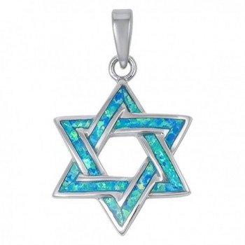 Lab Created Opal Star of David .925 Sterling Silver Pendant Blue or White - Lab Created Blue Opal - CA11AESF0X1