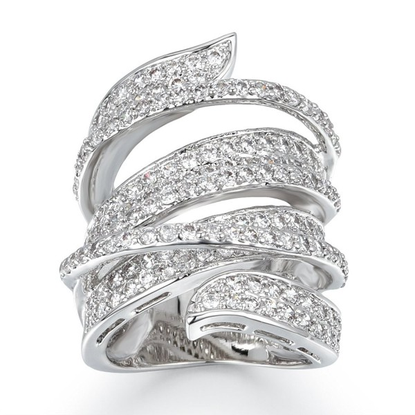 Delicin Jewelry Rhodium Plated Cubic Zirconia Wide Band Cocktail Ring - CW17X68S36X