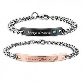 Couples Charm Bracelets Stainless Steel Chic Lovers Bangles Valentines Day Gift - C11883XY22D