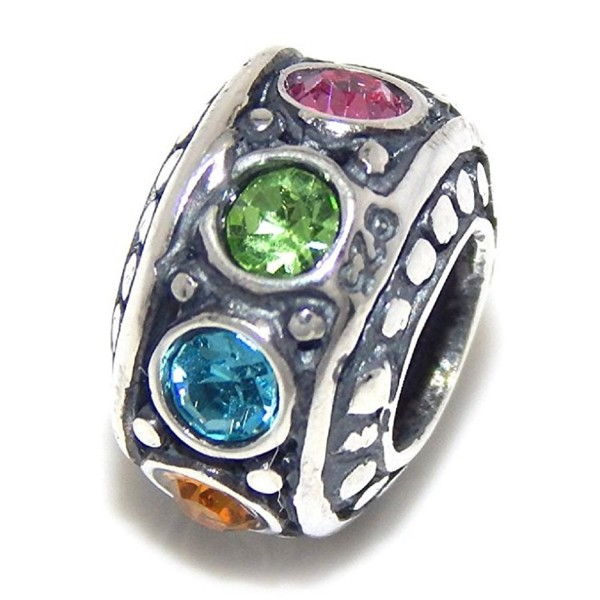 """Solid 925 Sterling Silver """"Multicolor Crystal Ronelle Spacer"""" Charm Bead - CG12NVDLZR8"""
