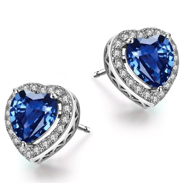 Caperci Sterling Silver Created Blue Sapphire Heart Stud Earrings for Women - CU12MA8UW1F