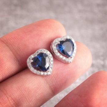 Caperci Sterling Created Sapphire Earrings in Women's Stud Earrings