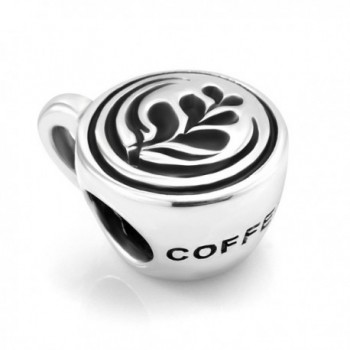 925 Sterling Silver Latte art Coffee Cup Bead Charm Fit Major Brand Bracelet - Heart Leaf - CG11DM5NAAH
