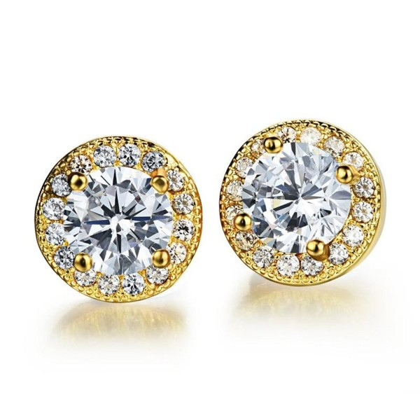 Dog Brother 18k Gold Plated Cubic Zirconia Halo Round Diamond Stud Earrings-3 Styles 8mm - C917AZMROG5
