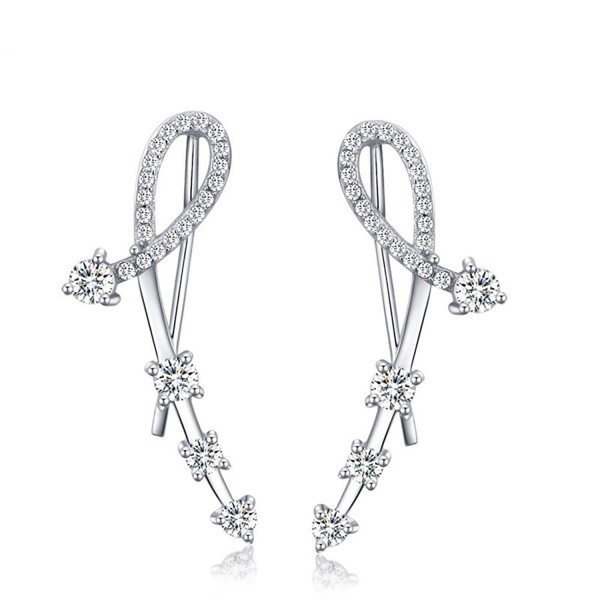 Ear Crawler- Mariafashion 925 Sterling Silver Ear Wire Ear Cuff Earring Ear Vine Climber - CV12NBA52F3