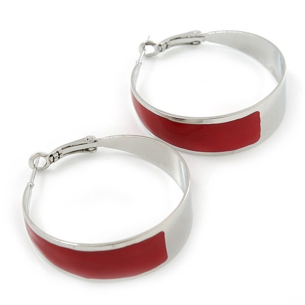 Medium Wide Red Enamel Hoop Earrings In Rhodium Plating - 40mm Diameter - CH11FX54QO5