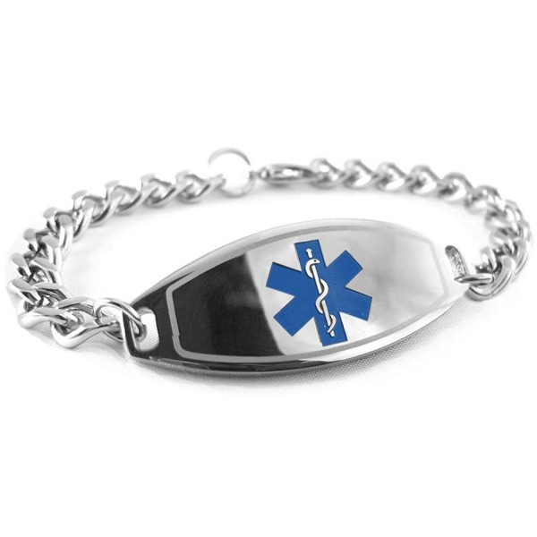 MyIDDr - Pre-Engraved & Customized Diabetes Type II Medical ID Bracelet- Blue - CW119I6APPX