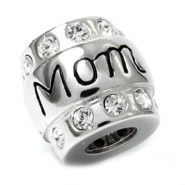 Sterling Silver Mom Mother Cubic Zirconia CZ Crystal Bead For European Charm Bracelets - CV11568L5X9
