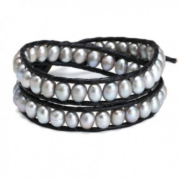 Aobei Handmade Dyed Grey Cultured Pearl Beaded Bracelet 2 Wraps Braided Bracelet for Ladies-2 Wraps Bracelet - CW121MEDM4F