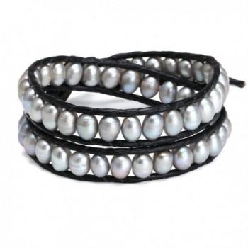 Aobei Handmade Dyed Grey Cultured Pearl Beaded Bracelet 2 Wraps Braided Bracelet for Ladies-2 Wraps Bracelet - CW121MEDM4F