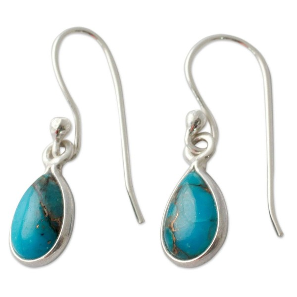 NOVICA Reconstituted Turquoise .925 Sterling Silver Dangle Earrings- 'Beautiful Blue Goddess' - CW127TIY5PD