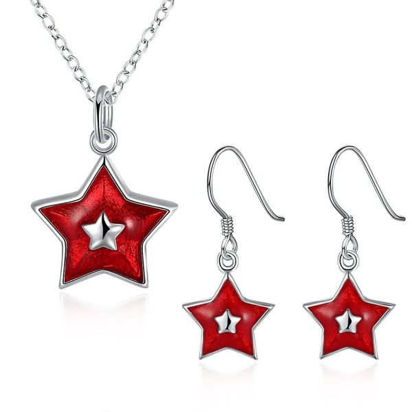 Silver Enamel Necklace and Earring Jewelry Set for Women Christmas Gift Charm Pendant - CX18786W5Z9