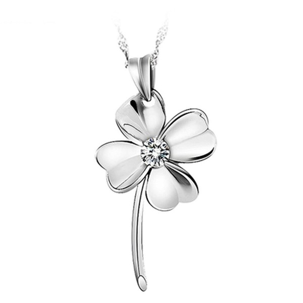 Chaomingzhen Sterling Silver Cubic Zirconia Heart Shaped Four Leaf Clover Pendant Necklace for Women - CD11B0CO569