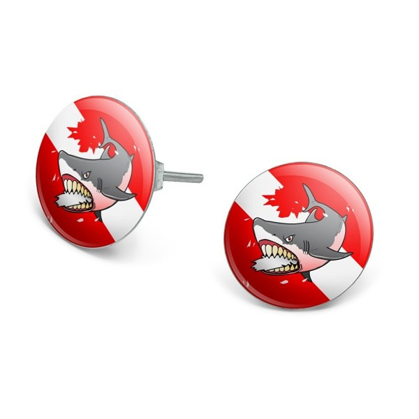 Angry Shark Scuba Diving Flag Diver Novelty Silver Plated Stud Earrings - CI1865LUY06