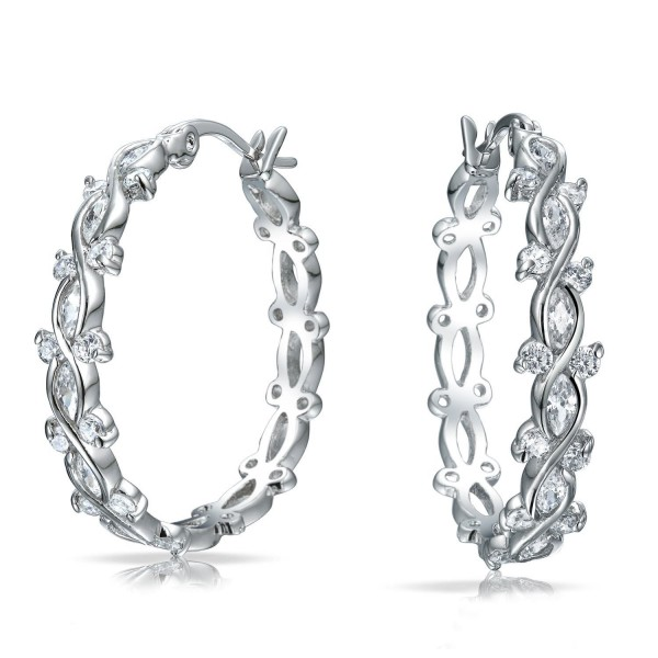 Bling Jewelry Clear CZ Bridal Infinity Hoop Earrings Rhodium Plated Brass - C311CZFRP6H