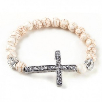Fashion Jewelry Stretchable sideways cross bracelet with white created-turquoise beads and crystal cross - C4119ID3491