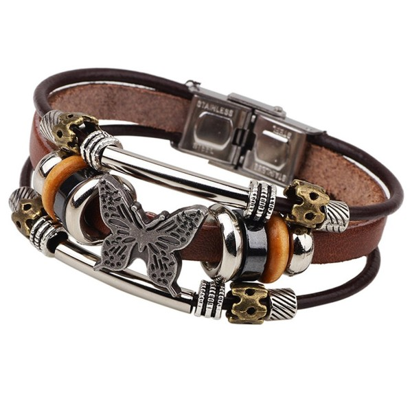 LNKRE JEWELRY Charms Triple Strand Bali Beads Leather Pendants Bracelets - C212L5HZ8ZF