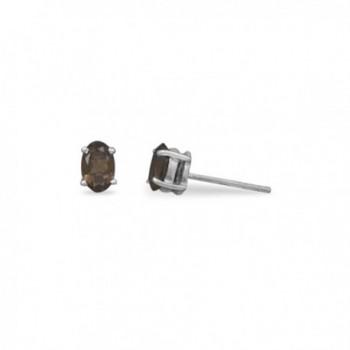 Oval Small Brown Smoky Quartz Post Stud Earrings Sterling Silver - CB118HOK11L