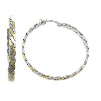 "1 3/4"" Stainless Steel Hoop Earrings Twisted Silver & Gold Plated 160227102700 - CZ12NUBHRC7"