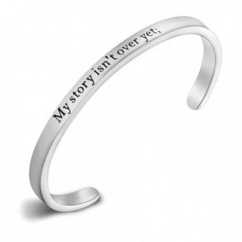 My Story Isn't Over Yet Semicolon Hand Stamped Suicide Awareness Cuff Bracelet Bangle - Silver Semicolon Bangle - CZ12NGFRCS0
