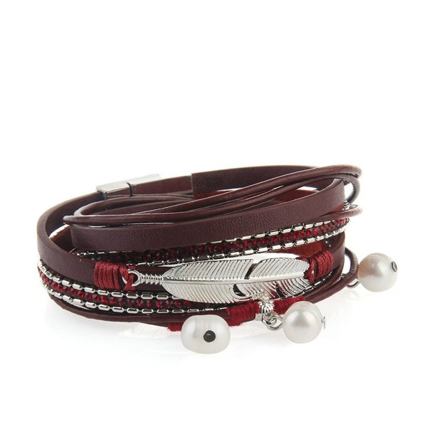 Genuine Leather Bracelet Pendant JOYMIAO - Red - CP1843QZKAT