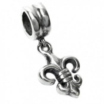 Sterling Silver Fleur-de-lis Dangle European-style Bead Charm - CI116K3GDBD
