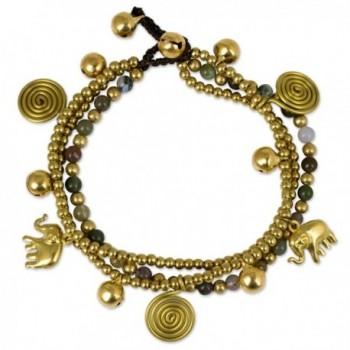 "NOVICA Jasper and Brass Beaded Lucky Elephant Charm Bracelet- 7.5"" 'Colorful Siam Elephants' - CR127S0ZPKL"