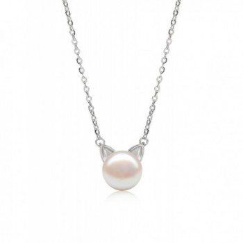 Natural Freshwater Pearl AAAA Quality Sterling Silver Cat Necklace 7-8 mm - Valentine's Day Gifts - Necklace - C318033M2GR