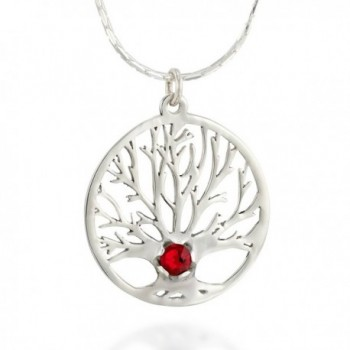 TREE of LIFE Charm Sterling Silver Pendant Necklace & Red Swarovski- Beautiful Jewelry Gift for Women - CP12O53XSUP