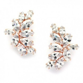 Mariell Blush Rose Gold CZ Earrings with Marquis-Cut Clusters - Bridal- Wedding & Mother of Bride Glamour - CM12JGUEOML