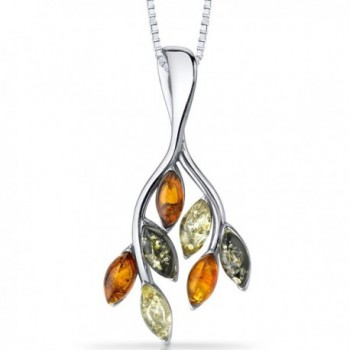 Baltic Amber Leaf Pendant Necklace Sterling Silver Multiple Colors - CN11Y5N360L