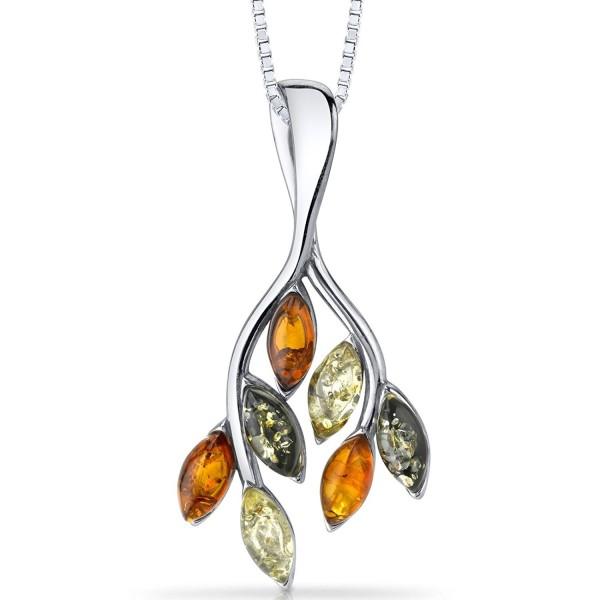 Baltic Amber Leaf Pendant Necklace Sterling Silver Multiple Colors - CN11Y5N360L