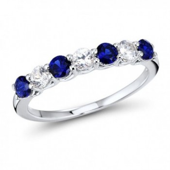 Lab Created Blue and White Sapphire 7-Stone Ring Band in Rhodium Plated Sterling Silver - CN189U4QXK5