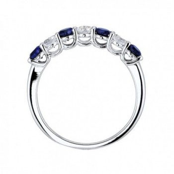 Created Sapphire 7 Stone Rhodium Sterling in Women's Band Rings
