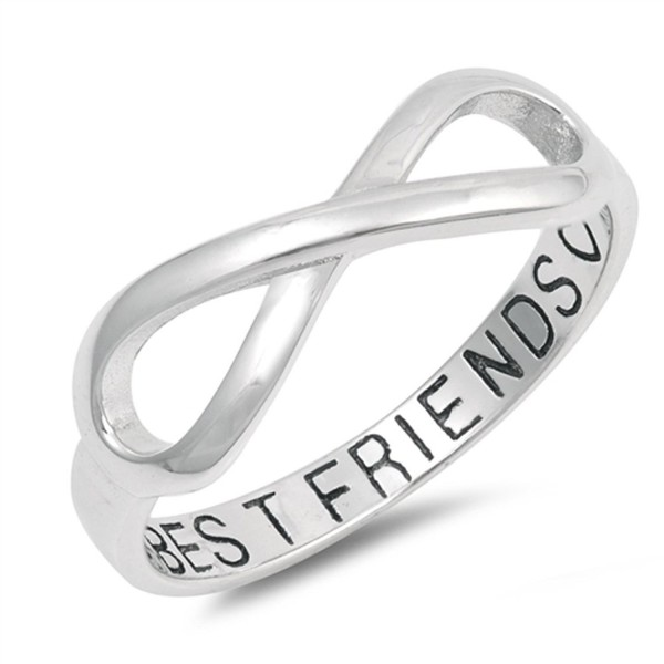 Infinity Best Friends Heart Ring .925 Sterling Silver Friendship Band Sizes 5-10 - CR1836RH0XH
