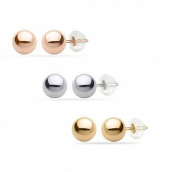 PARIKHS White Gold Ball Earrings High Polished 8MM 14k with Silicone Protected Gold Pushbacks - CP11QE2UCWV