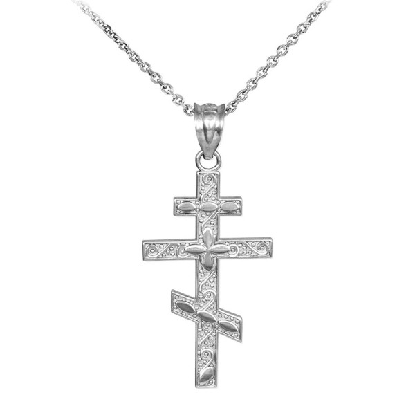 925 Sterling Silver Russian Orthodox Cross Pendant Necklace - CW123VJGQTH