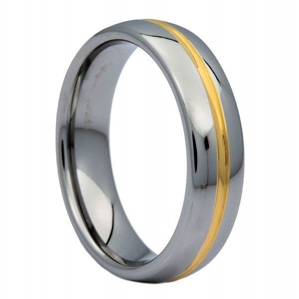 MJ 6mm Gold Plated Center Groove Ring Tungsten Carbide High Polished Band - C311SEFW2UL