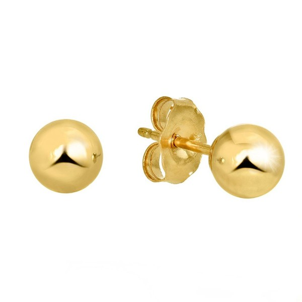JewelStop 14k Real Yellow Gold Stud Ball Earrings- Gold Friction Backs - 7 mm - C711Y7007JP