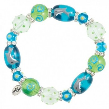 Clementine Design Kate & Macy Dreamy Dolphins Nautical Bracelet Painted Glass Beads Rhinestones - CB11769MQ7F