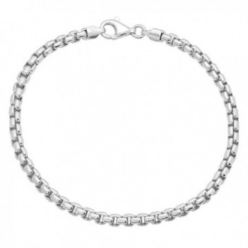 3mm Real 925 Sterling Silver Nickel-Free Italian Rounded Box Chain Bracelet + Bonus Polishing Cloth - C611UMNCREJ