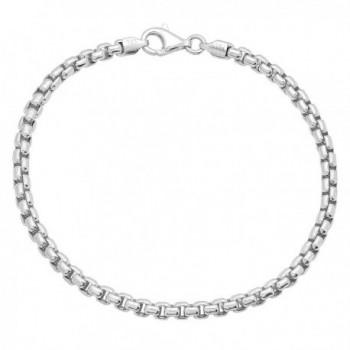 3mm Real 925 Sterling Silver Nickel-Free Italian Rounded Box Chain Bracelet + Bonus Polishing Cloth - C611UMNCREJ
