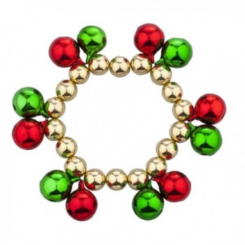 Lux Accessories Goldtone Christmas X-Mas Holiday Double Jungle Bells Bracelet - CB12LO55BYV