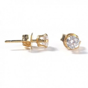 Sexy Sparkles Women's Stainless Steel Round Cubic Zirconia Stud Earring Gold Plated (5mm) - CH183KY9MDA