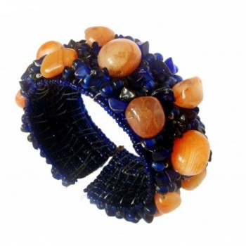 Natural Agate CUFF Bracelet-Blue & Orange-Mens Jewelry-Womens bracelet-Hand wired by TANEESI - CP11FE6NHJN