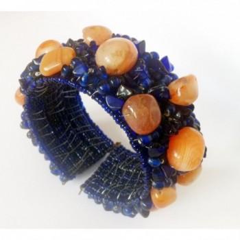 Natural Bracelet Blue Orange Mens Jewelry Womens bracelet Hand in Women's Cuff Bracelets